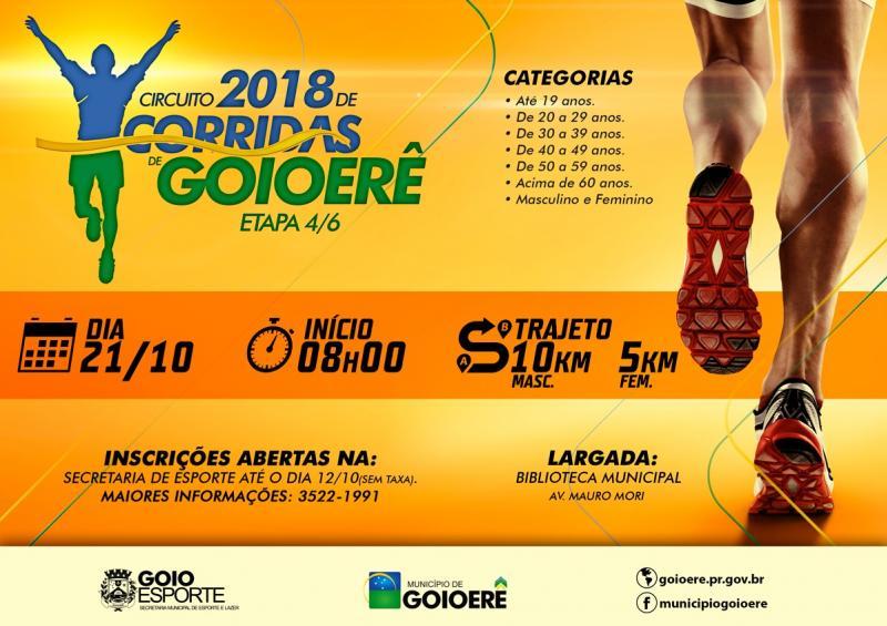 Domingo tem a 4ª etapa do Circuito 2018 de Corridas de Goioerê, inscrições abertas e gratuitas