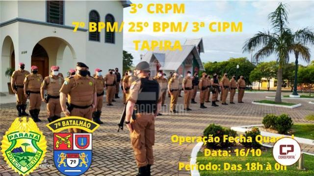 """7º BPM realiza """"Operação Fecha Quartel II"""" em Cruzeiro do Oeste e demais municípios"""