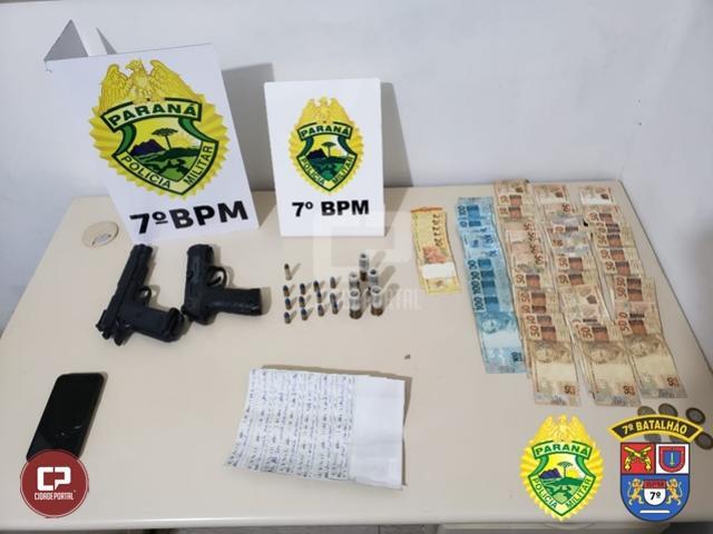 Policiais Militares apreendem dois simulacros, munições e dinheiro em Goioerê