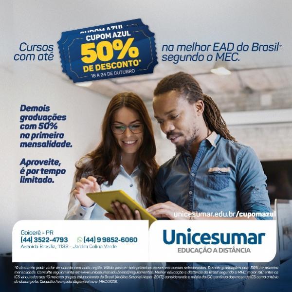 Unicesumar lança Campanha Cupom Azul com Diversidade de Cursos - EAD Goioerê