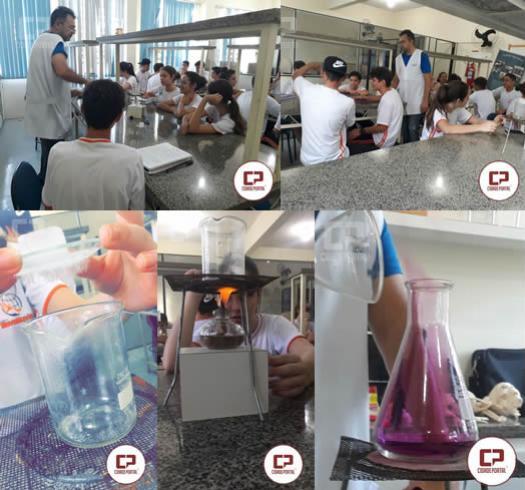 Alunos do Colégio Novo Mundo do 1º ano participam da primeira aula prática de Química