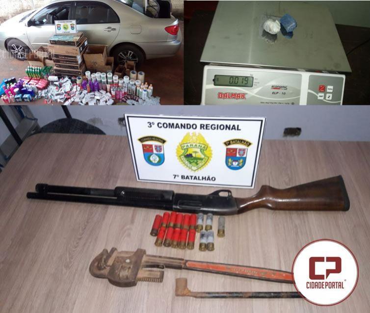 Policiais do 7º BPM apreendem drogas, armas e contrabando em Tapira e Rondon