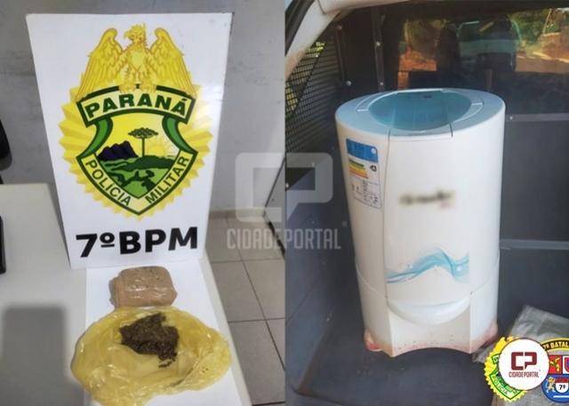 Polícia Militar recupera objeto furtado e apreende entorpecente durante operações distintas