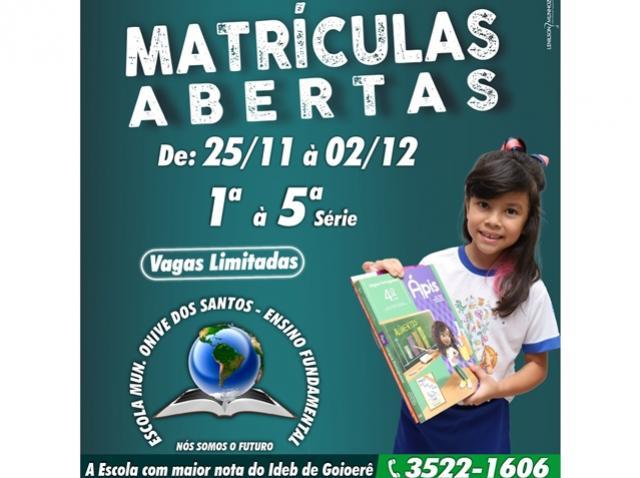 Escola Municipal Onive dos Santos de Goioerê está com matrículas abertas para o ano letivo de 2021