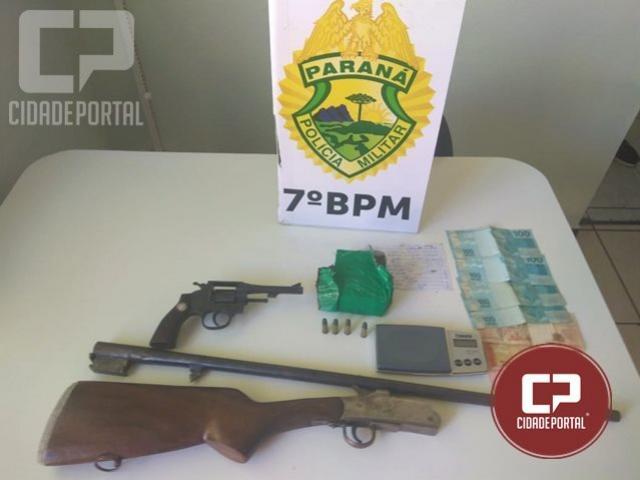 Policiais Militares do 7º BPM apreendem duas armas de fogo e entorpecentes em Tapejara