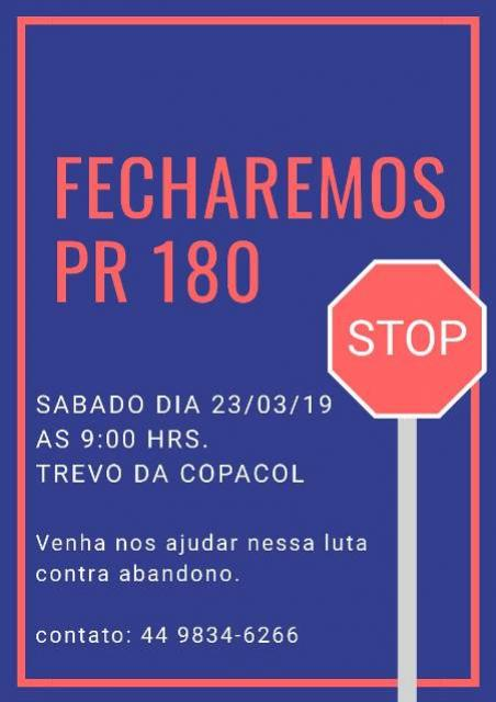 Protesto ao descaso da PR-180 começa as 9 horas deste sábado, 23, participe
