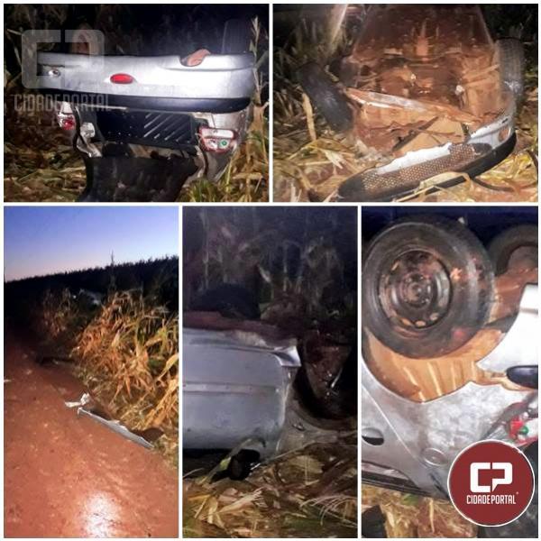 Motorista sem habilitação capota veículo  entre Cafelândia e Nova Aurora na madrugada desta sexta-feira, 21