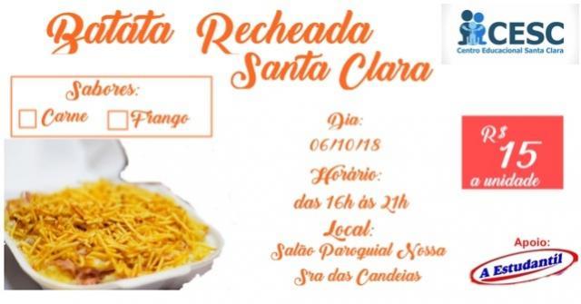 Convites para Batata Recheada do Centro Santa Clara já esta disponível, reserve a sua