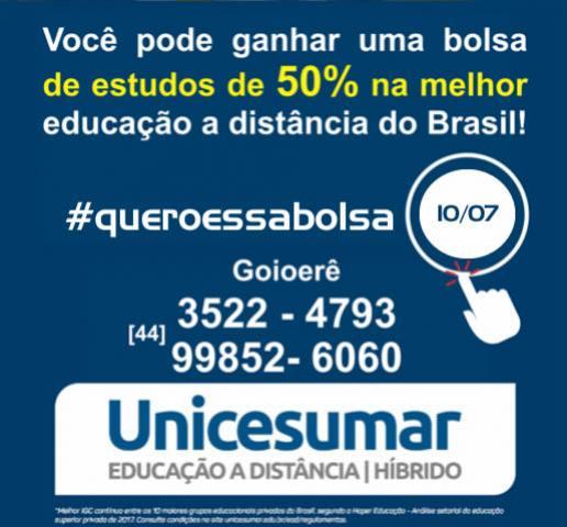 Unicesumar Polo de Goioerê lança a Campanha #QueroessaBolsa
