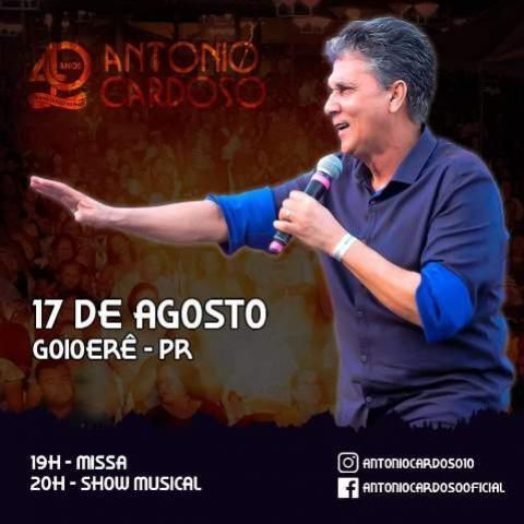 Cantor de músicas católicas Antônio Cardoso realizaráShow dia 14 de agosto na Igreja Matriz de Goioerê