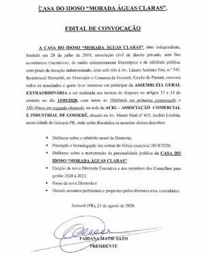 Assembléia Geral Extraordinária da Casa do Idoso - Morada Águas Claras será dia 15 de setembro