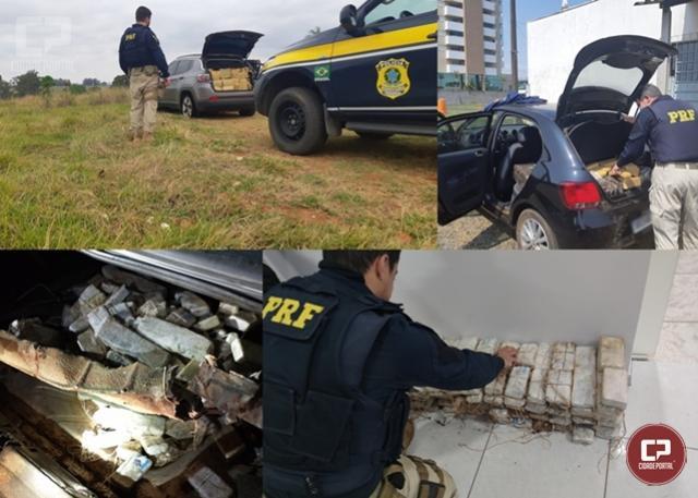 Em menos de 3 horas, PRF apreende mais de 1 tonelada de maconha no Paraná