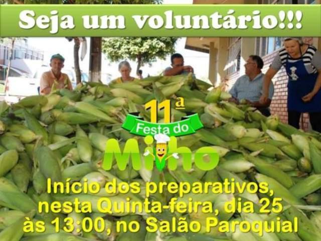 Seja um voluntário da 11ª Festa do Milho! que será realizada entre os dias 17 e 19 de Maio