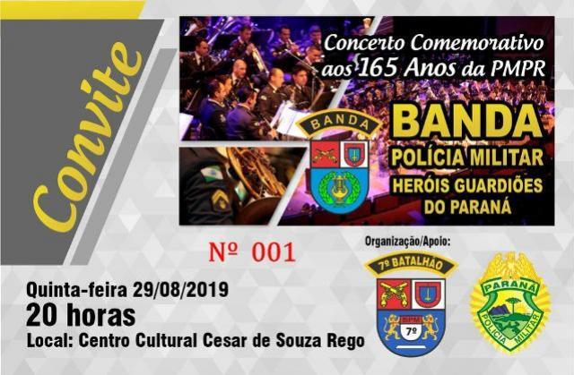 Convites para o Concerto da Banda da Polícia Militar do Paraná estão se esgotando