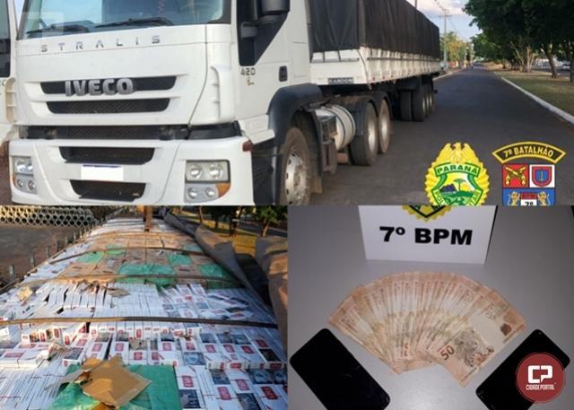 Policiais Militares do 7º BPM apreendem carreta carregada com cigarros contrabandeados em Tapejara