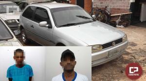 Duas pessoas foram presas pela Polícia Militar de Moreira Sales por furto de veículo