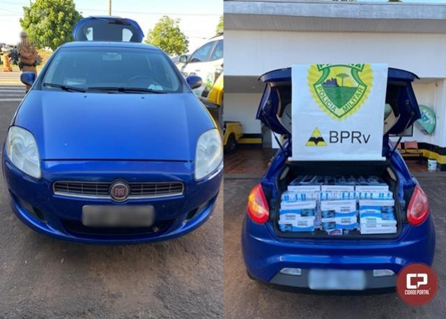 PRE de Cruzeiro do Oeste apreende veículo carregado com cigarros contrabandeados
