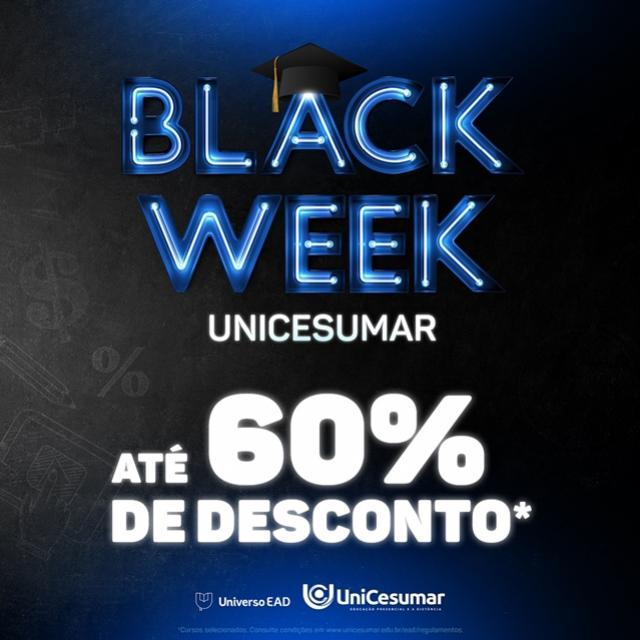 Black Week da graduação oferece cursos superiores com até 60% de desconto nas mensalidades da Unicesumar