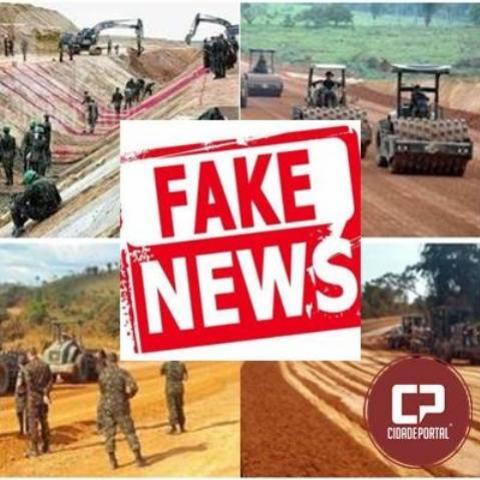 Notícias sobre obras de pavimentação executadas pelo exército são fake news!