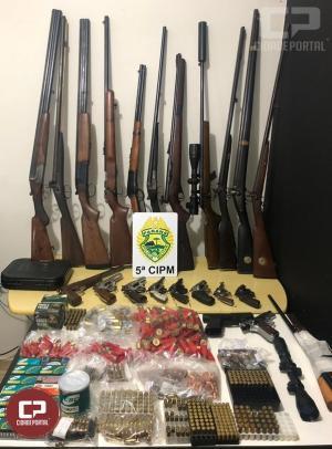 Polícia Militar realiza grande apreensão de armas de fogo e prende três pessoas em Cianorte