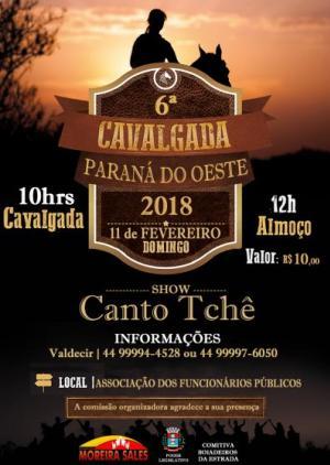 6ª Cavalgada de Paraná do Oeste irá acontecer no dia 11 de fevereiro