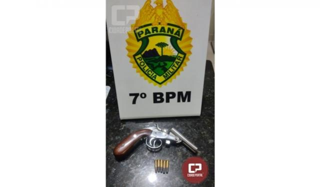 Polícia Militar apreende arma de fogo e encaminha duas pessoas em Nova Olímpia para a delegacia