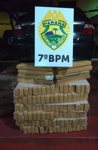 ROTAM do 7º BPM realiza apreensão de 77 kg de drogas nas proximidades do município de Tapejara - PR