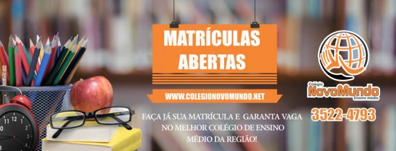 O Colégio Novo Mundo de Ensino Médio está com Matrículas abertas para 2018