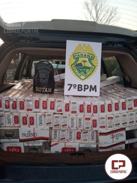 7º BPM apreende veículo carregado com cigarros contrabandeados em Cruzeiro do Oeste
