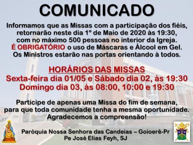 Missas com a participação dos fiéis retornarão nesta sexta-feira, 01, na Paróquia Nossa Senhora da Candeias
