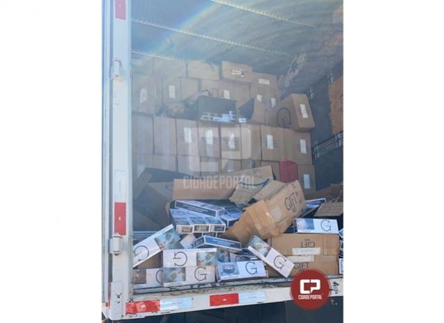 PRE apreende caminhão carregado com cigarros contrabandeados em Tuneiras do Oeste