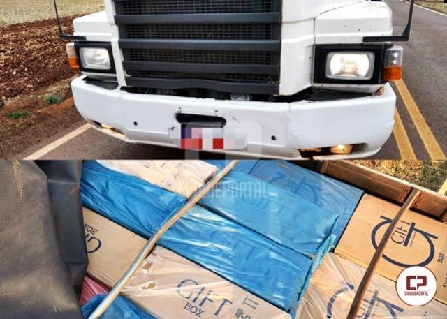 Polícias Federal, Militar e Civil apreendem caminhão carregado de cigarros estrangeiros em Engenheiro Beltrão