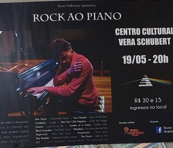 BOA MÚSICA:  O pianista curitibano Bruno Hrabovsky retorna a Umuarama com uma nova edição do Projeto Rock ao Piano
