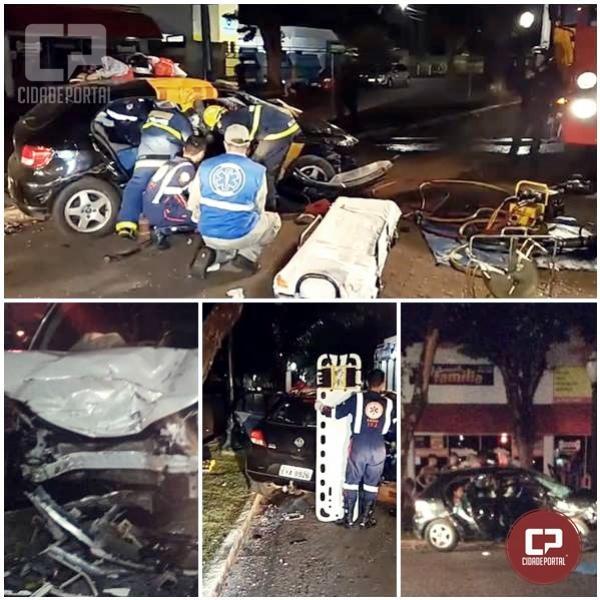 Grave acidente deixa 5 pessoas feridas na área central de Campo Mourão