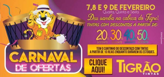 Deu samba na cabeça do Tigre! - Carnaval de Ofertas com até 50% de desconto na Tigrão Tintas