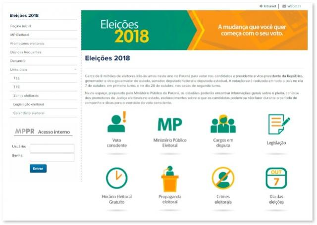 MPPR lança site Eleições 2018 com orientações e canais de denúncia