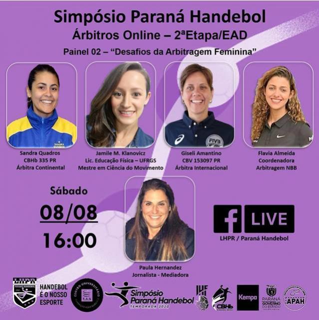 Desafios da arbitragem feminina é tema do 2º painel do Simpósio On-line da Paraná Handebol