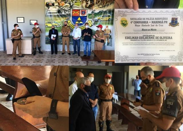 Primeiro comandante da 4ª Cia BPRV recebe moeda comemorativa aos 166 anos da PMPR