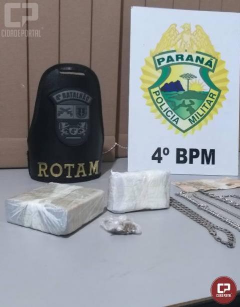 Polícia Militar prende duas pessoas suspeitas de tráfico e apreende droga em Paiçandu