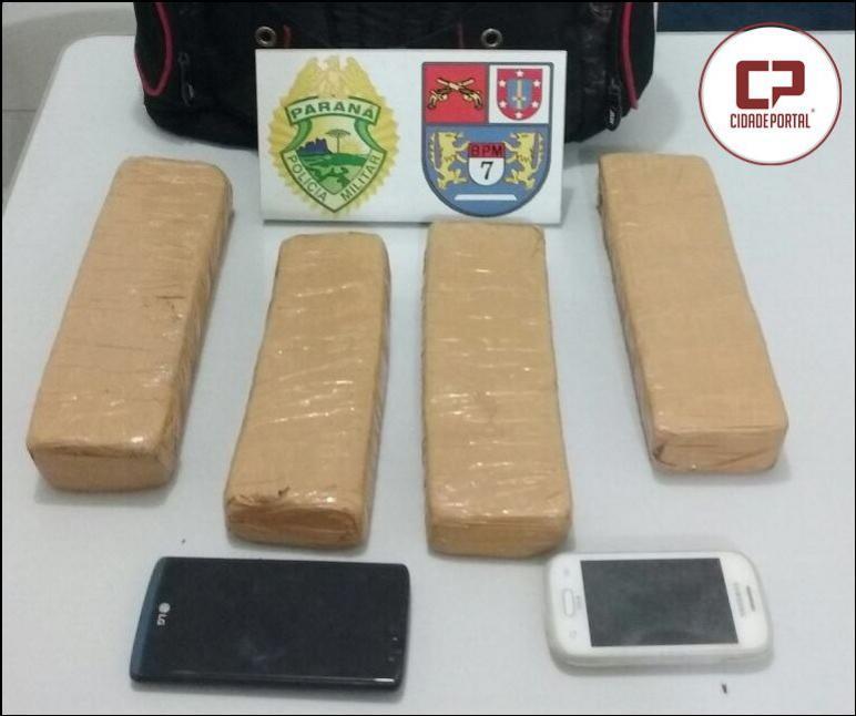 Policiais do 7º Batalhão apreendem mais de 1,5 KG de maconha em Tuneiras do Oeste