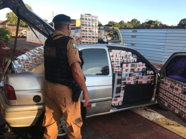 Policiais do 7° BPM apreendem veículo carregado com cigarros em Cruzeiro do Oeste