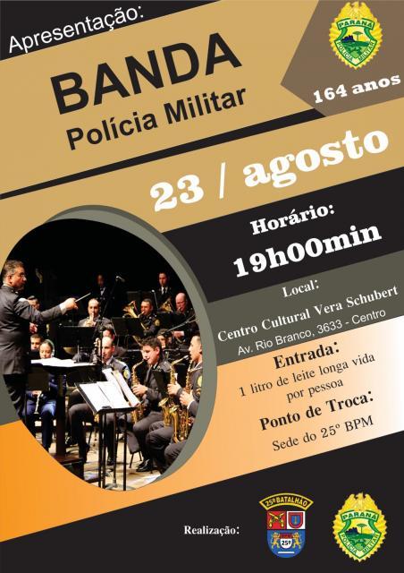 Banda da Polícia Militar realiza apresentação na cidade de Umuarama, dia 23 de Agosto