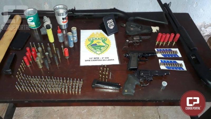 Duas pessoas foram presas em Campina da Lagoa em posse de armas e munições
