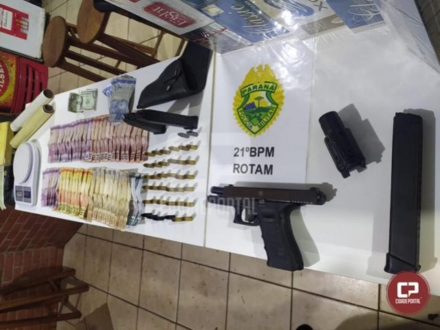 PM apreende prende uma pessoa e apreende arma de fogo em Ubiratã