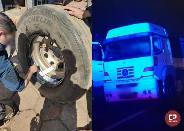 PRF apreende cerca de R$ 300 mil em celulares escondidos dentro dos pneus de caminhão em Ubiratã