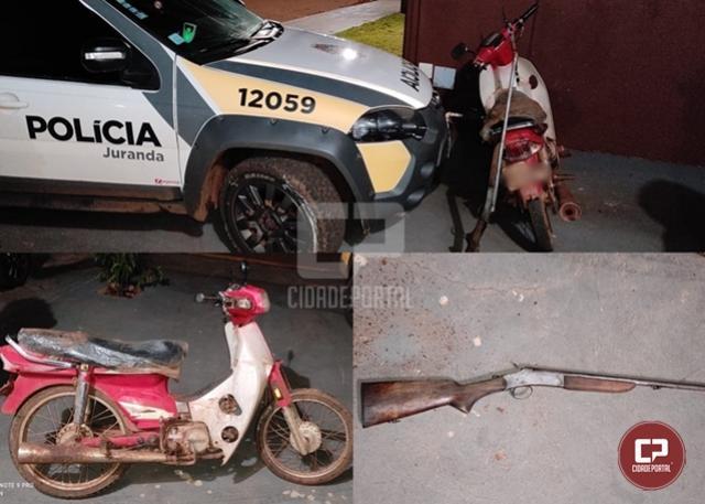 PM de Juranda apreende arma após perseguição em Campina da Lagoa