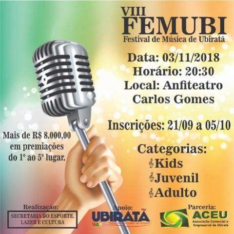 Inscrições para a 8ª edição do FEMUBI em Ubiratã já estão abertas