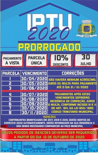 Prefeitura de Ubiratã prorroga prazo de pagamento à vista e parcelado do IPTU 2020, veja as novas datas