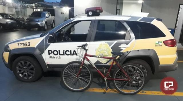 Polícia Militar de Ubiratã age rápido e recupera bicicleta furtada