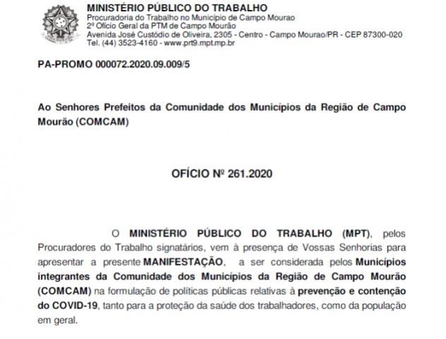 Seguindo recomendação do Ministério Público do Trabalho, Ubiratã mantém medidas de isolamento social